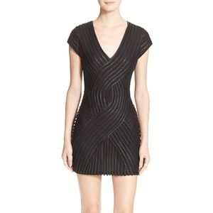 Parker Black Fabiana Faux Leather Trim Dress